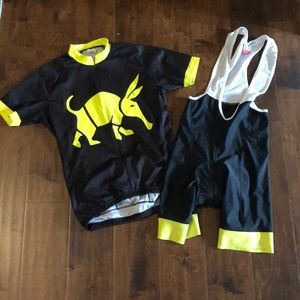 Other - Men's neon yellow and black cycling kit